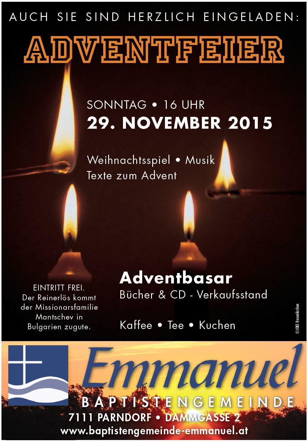 Herzliche Einladung zur Adventfeier 2015