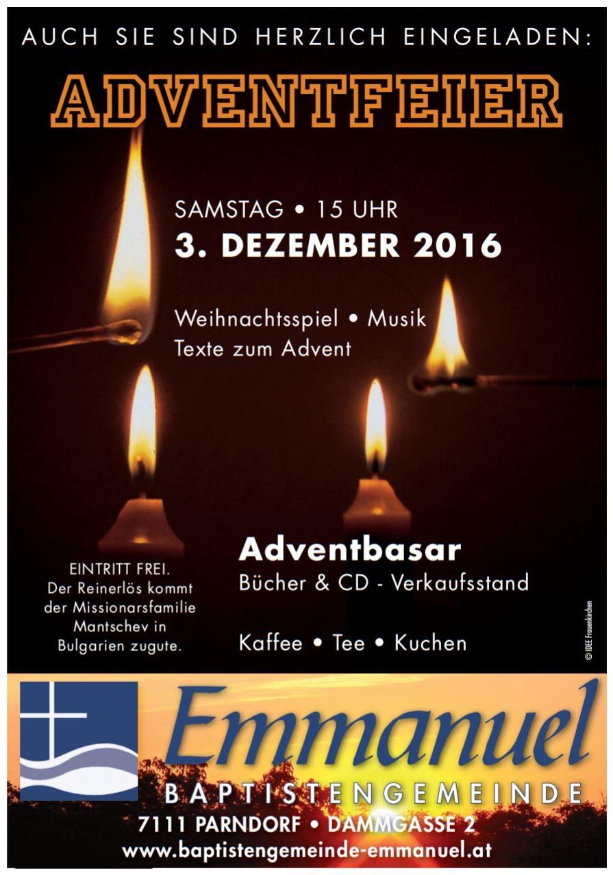 Herzliche Einladung zur Adventfeier 2016