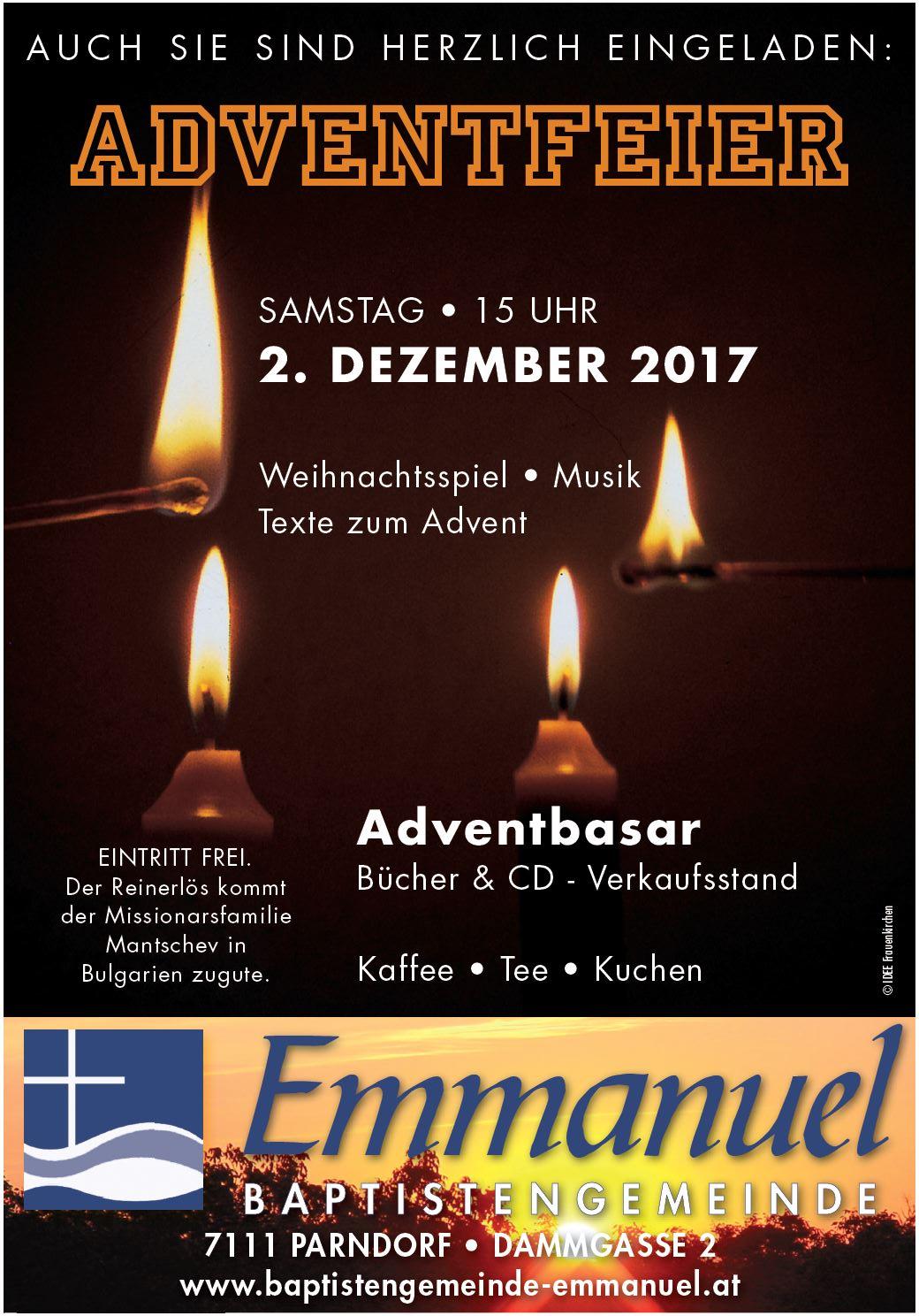 Herzliche Einladung zur Adventfeier 2017
