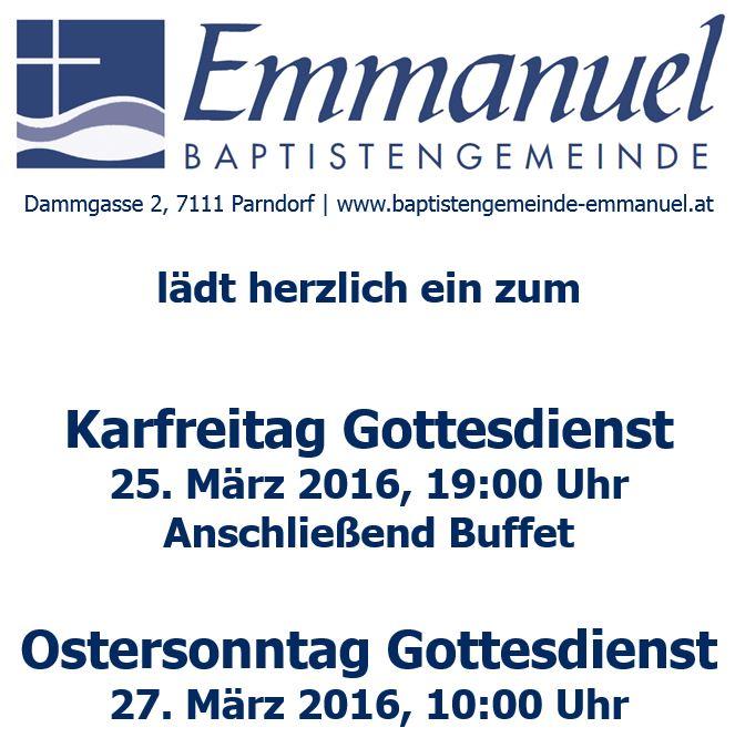 Gottesdienste zu Ostern 2016