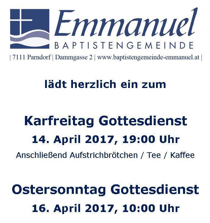 Gottesdienste zu Ostern 2017